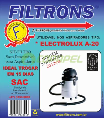 FILTRO ELECTROLUX 20 LITROS DESCARTÁVEL COM 03 PEÇAS