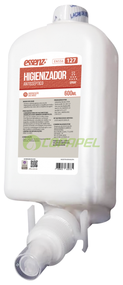 REFIL Higienizador Antisséptico Spray ESSENZ 600ML