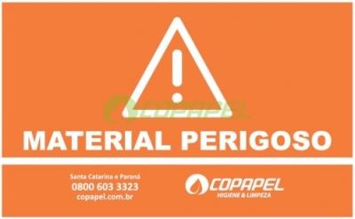 ADESIVO PARA LIXEIRA COLETA SELETIVA - LARANJA/MATERIAL PERIGOSO
