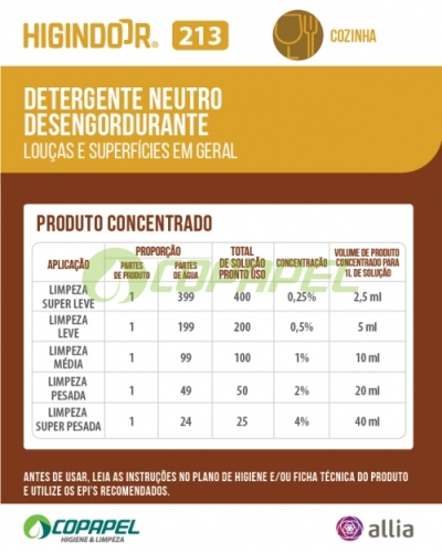ADESIVO HIGINDOOR 213 - 8x10cm -  PRODUTO CONCENTRADO